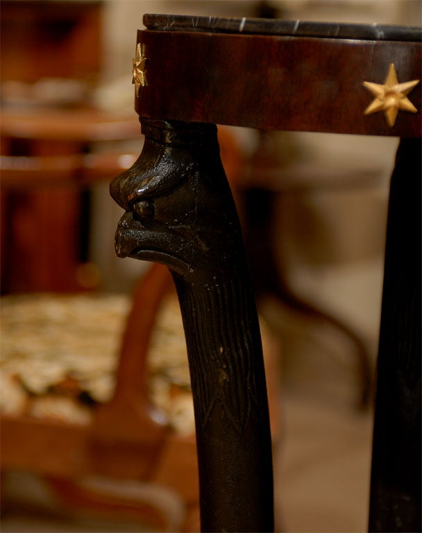 19th Century Ebonized Pedestal with Eagles & Marble Top For Sale 2