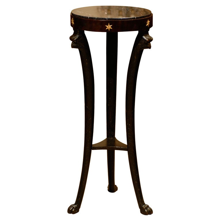 19th Century Ebonized Pedestal with Eagles & Marble Top For Sale