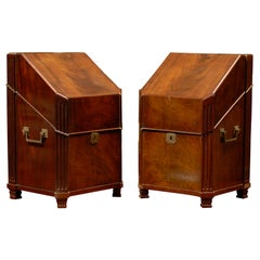 Pair of 19th Century Mahogany Knife Boxes with Fitted Interiors