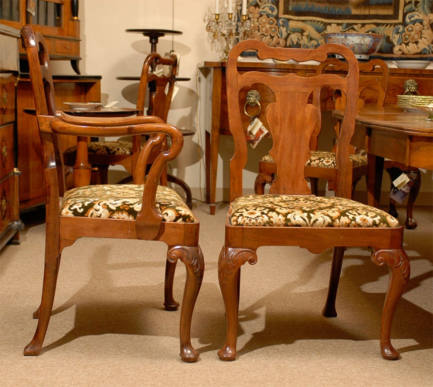 set of eight 8 queen anne style dining chairs ca 1890 for sale at