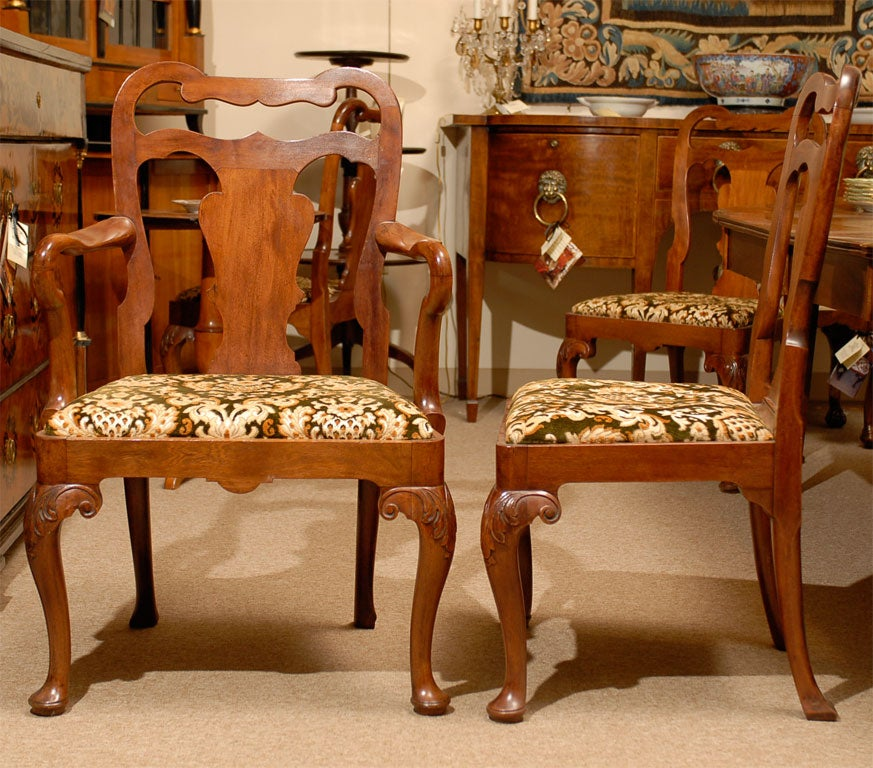 A Set Of Eight 8 Queen Anne Style Dining Chairs Ca 1890 For Sale At 1stdibs