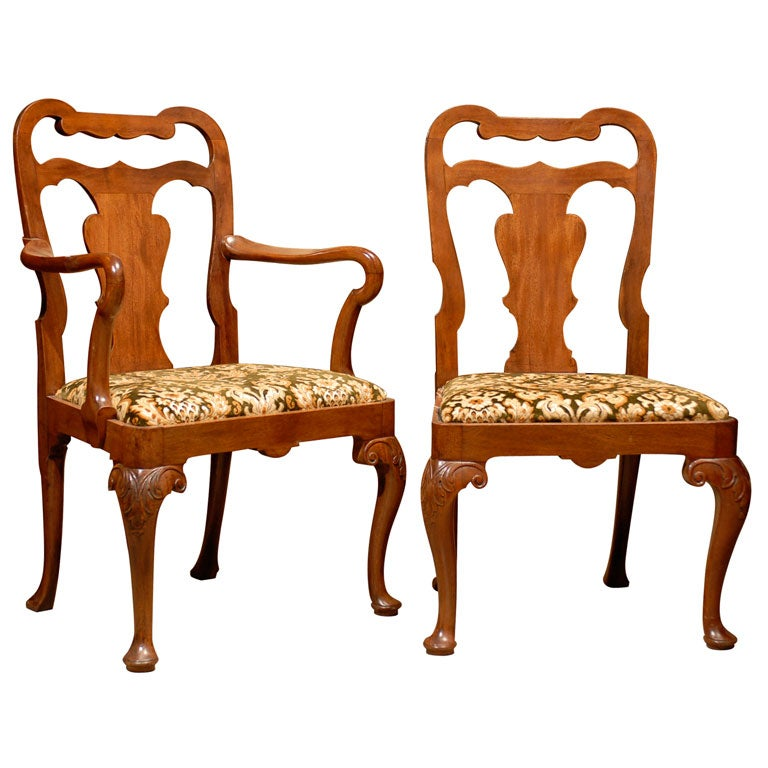 A set of eight 8 queen anne style dining chairs ca 1890 for 8 dining room chairs