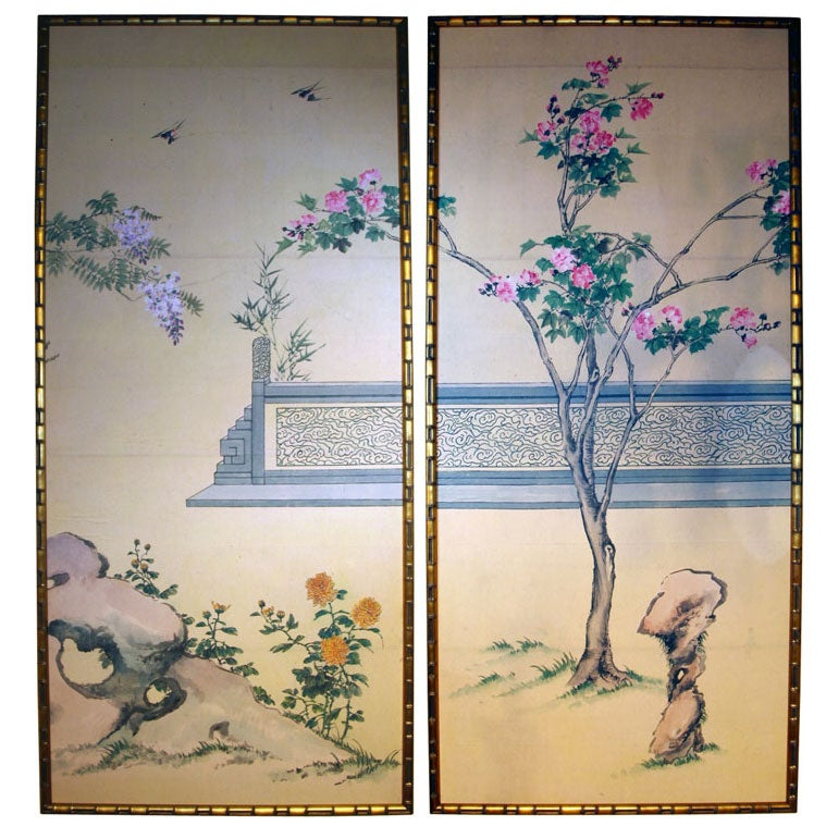 A pair of mid century gracie chinese wallpaper panels at for Wallpaper sheets for sale