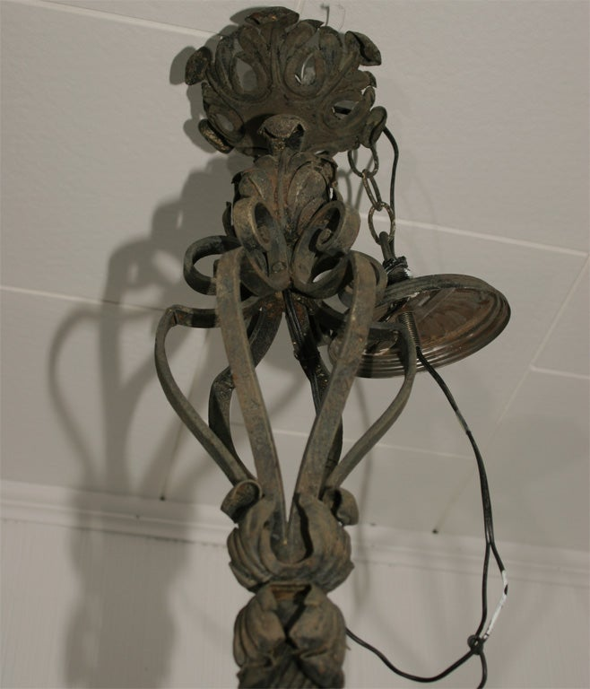 French Ornate Wrought Iron Chandelier For Sale