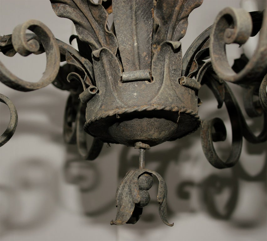 Ornate Wrought Iron Chandelier In Good Condition For Sale In Mt Kisco, NY