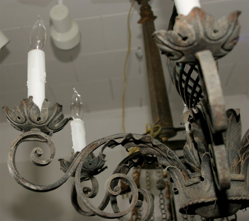 20th Century Ornate Wrought Iron Chandelier For Sale