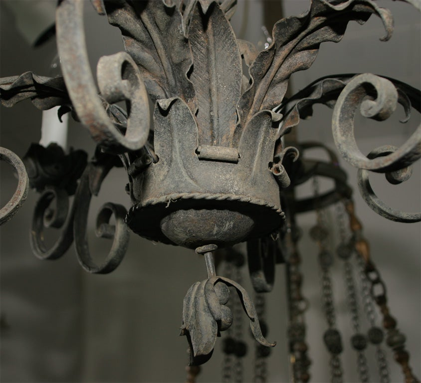 Ornate Wrought Iron Chandelier For Sale 3