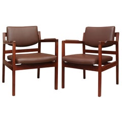 Set of Eight Jens Risom Leather Dining Chairs on Solid Walnut Frames