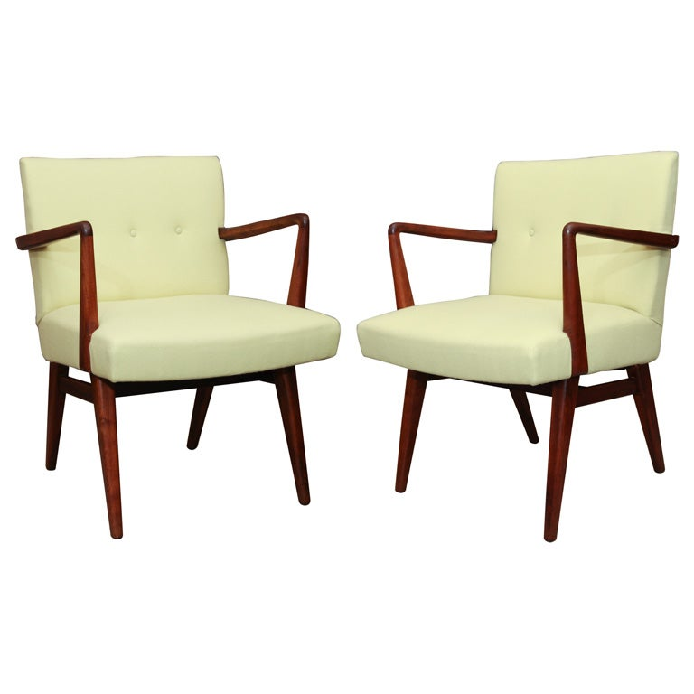 Jens risom dining chairs with walnut frames set of 6 available at 1stdibs - Jens risom dining chairs ...