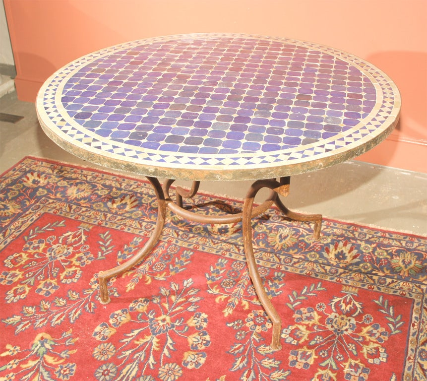 Mosaic top indoor outdoor round table at 1stdibs for Outdoor round table tops for sale
