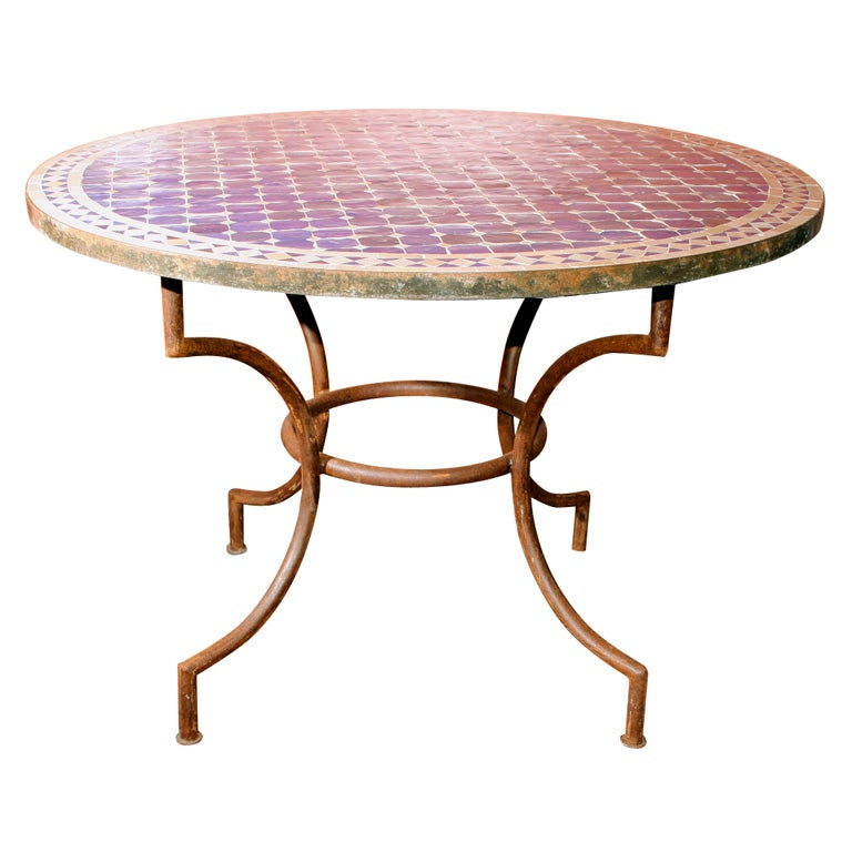 Mosaic Top Indoor Outdoor Round Table At 1stdibs