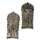 Pair Mirrored Back Crystal Drop Sconces