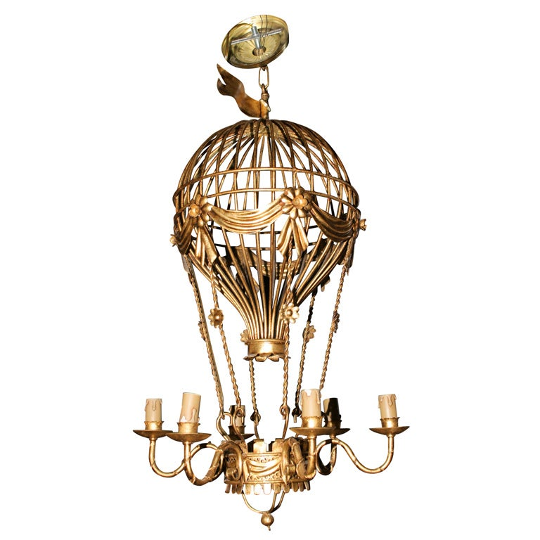 Gilt french hot air balloon chandelier 6 arm at 1stdibs gilt french hot air balloon chandelier 6 arm for sale mozeypictures Images