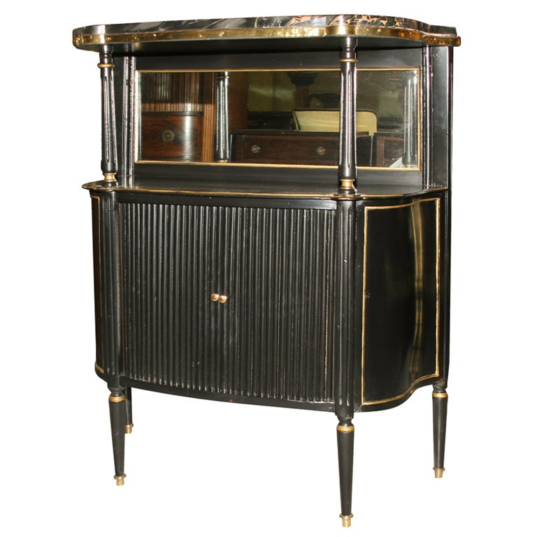 Jansen Ebonized Marble Top Curio Cabinet For Sale At 1stdibs