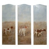 Oil Paining of Dogs on three panel  Screen