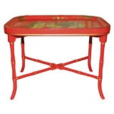 Red Chinoiserie Tray table