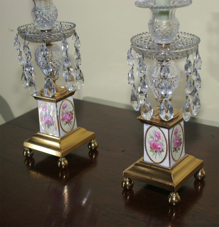 Pair of George III Brass and Cut Crystal Candlesticks. English, Circa 1810 In Excellent Condition For Sale In New York, NY