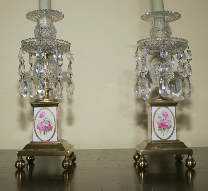 19th Century Pair of George III Brass and Cut Crystal Candlesticks. English, Circa 1810 For Sale