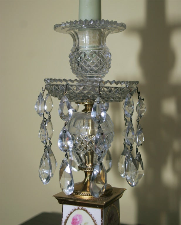 Pair of George III Brass and Cut Crystal Candlesticks. English, Circa 1810 For Sale 1