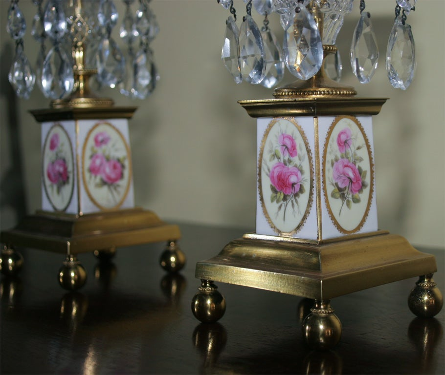 Pair of George III Brass and Cut Crystal Candlesticks. English, Circa 1810 For Sale 2