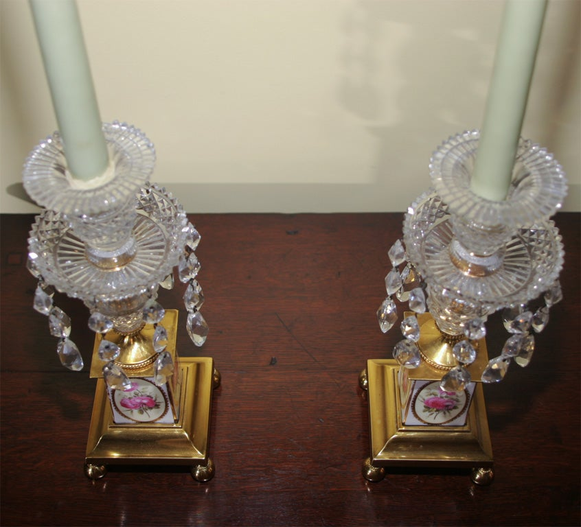 Pair of George III Brass and Cut Crystal Candlesticks. English, Circa 1810 For Sale 3