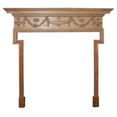 George III Adam Period Carved Pine Chimney Mantle Piece. English, Circa 1780