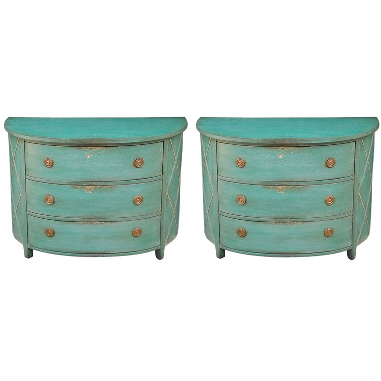 Pair of painted demilune chests of drawers at 1stdibs for Sideboard lindholm