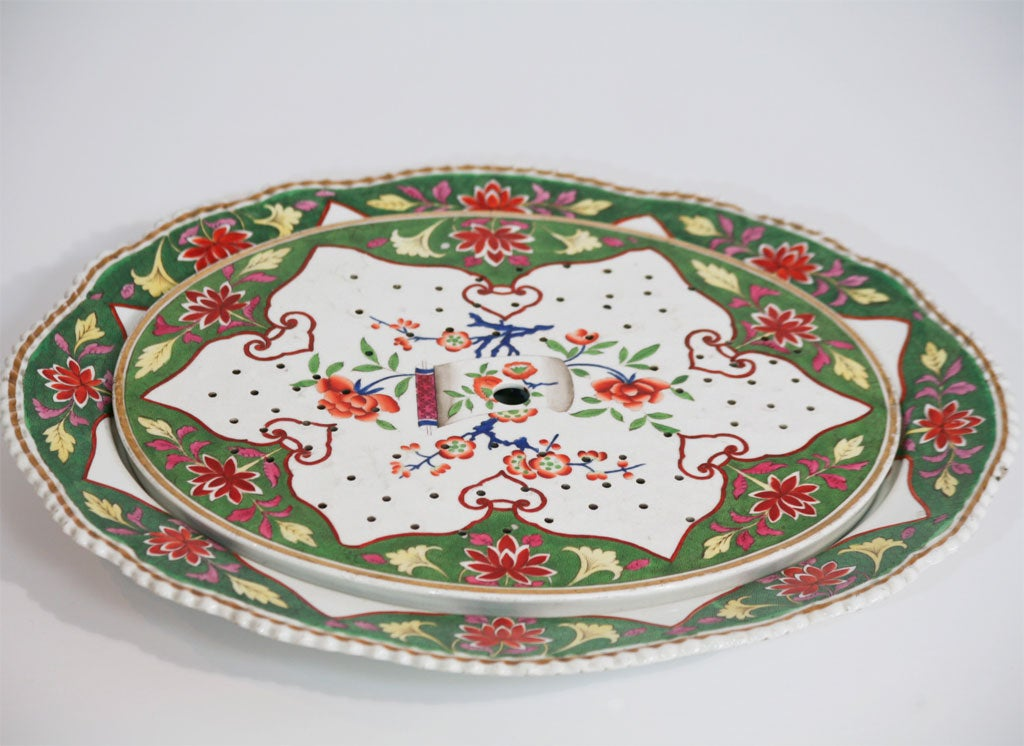 English 19th C. Porcelain Meat Platter W/  Matching Drainer