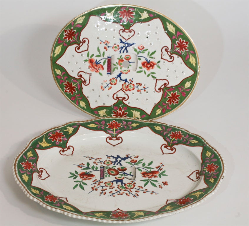 19th C. Porcelain Meat Platter W/  Matching Drainer