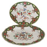 """19th C. Porcelain Meat Platter W/  Matching Drainer """"Chinoiserie"""