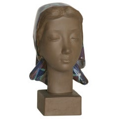Royal Copenhagen Terracotta Female Bust Signed Hedegaard