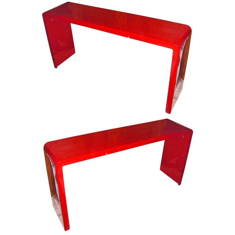 Two s red lacquered fiberglass console tables at stdibs