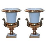 A Pair of Vieux Paris Porcelain White and Gilt  Vases