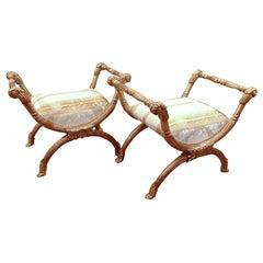 pr of Italian curule stools