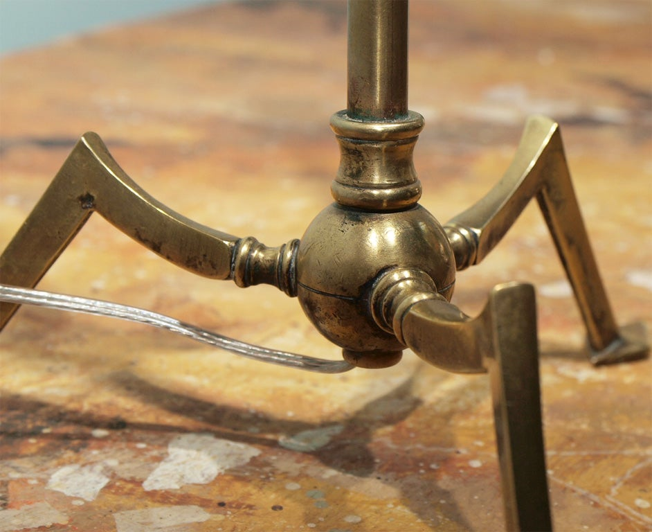 Unusual Pair of Adjustable Brass Table or Wall Lamps 9