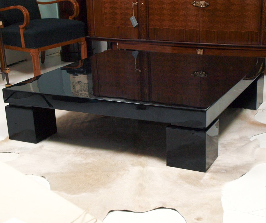 Low Black Lacquer Coffee Table At 1stdibs