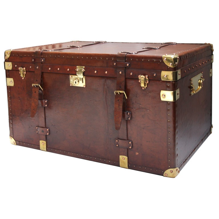 VINTAGE BRASS BOUND LEATHER TRUNK At 1stdibs