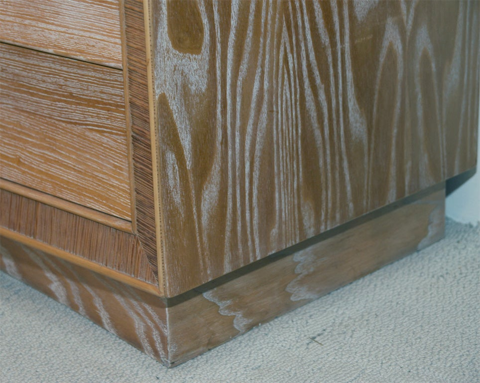 Mid-20th Century Limed Natural Oak Dresser with Combed Oak Border by Paul Frankl For Sale