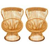 Pair of Franco Albini rattan Margherita chairs