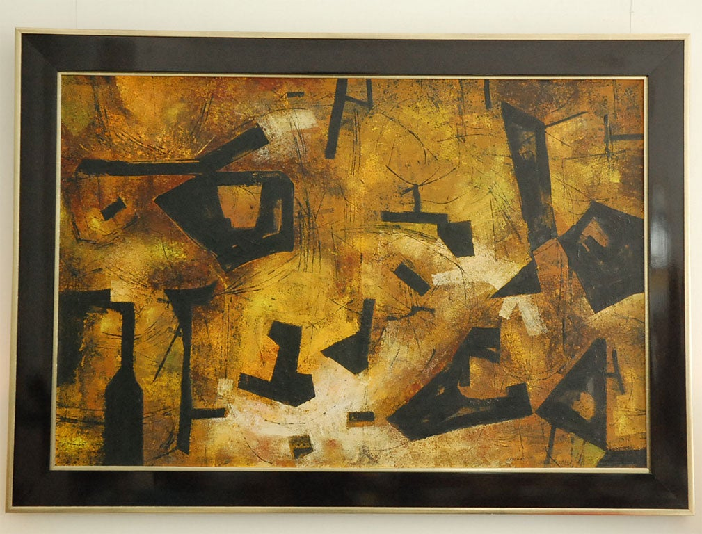 """Mai"" California Modernist Abstract by Jules Engel 2"