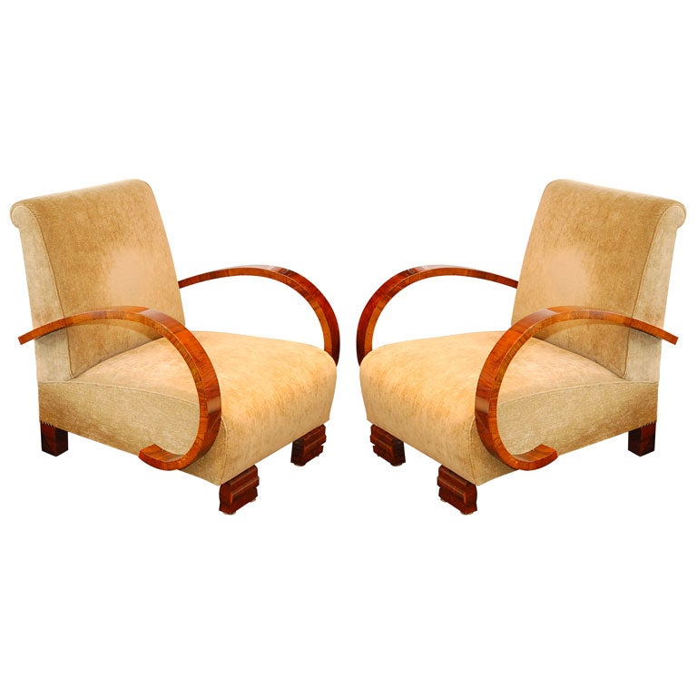 Pair art deco lounge chairs at 1stdibs - Foto deco lounge ...