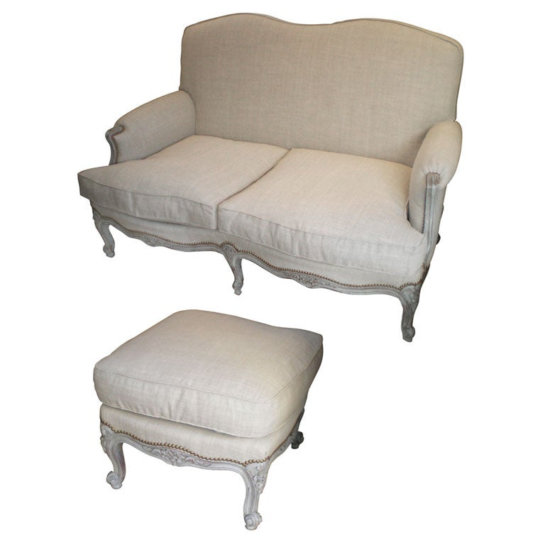 1930s Louis Xv Style Two Seater Sofa And Matching Foot Rest At 1stdibs