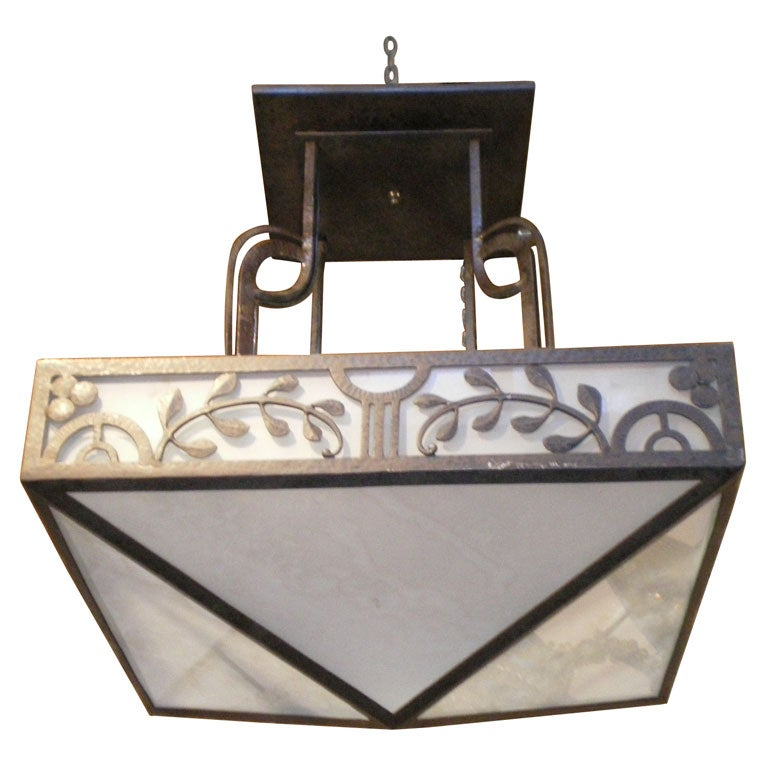 1940s Chandelier In Wrought Iron And Frosted Glass At 1stdibs