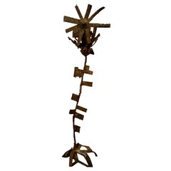 Brutal Iron and Bronze Sunflower Sculpture Signed Faizman