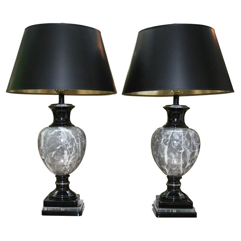 this pair of faux marble tables lamps with lucite base is no longer. Black Bedroom Furniture Sets. Home Design Ideas