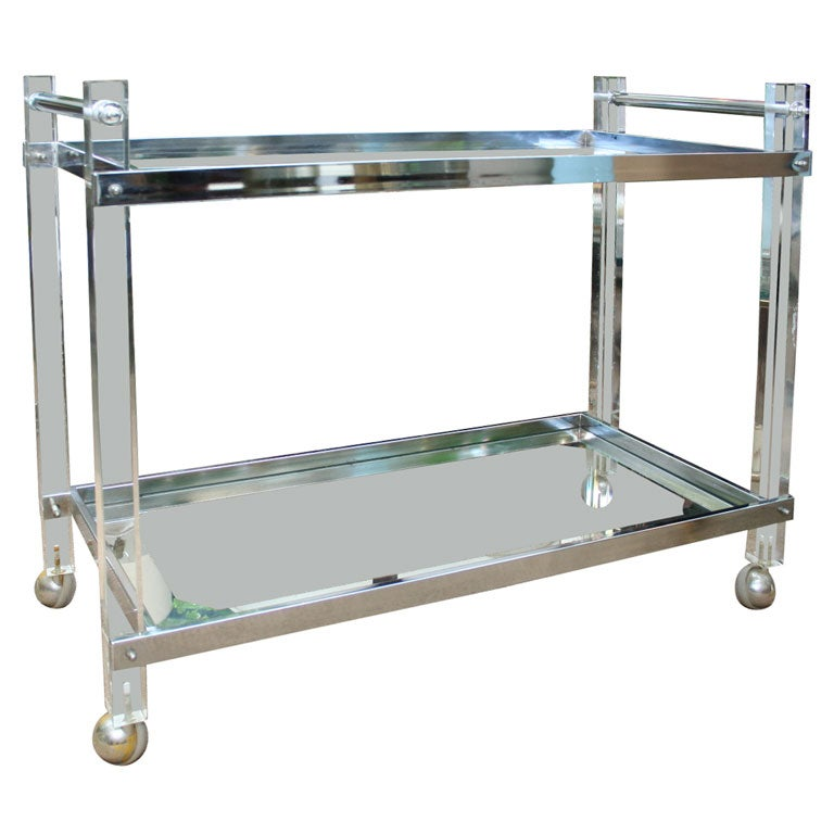 Large Lucite Chrome And Glass Bar Cart At 1stdibs