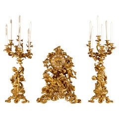 Gilt bronze garniture set