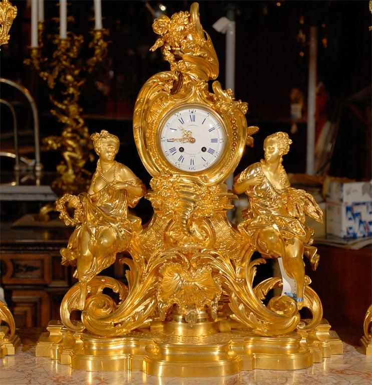 Gilt 19th Century Three-Piece Garniture Set For Sale