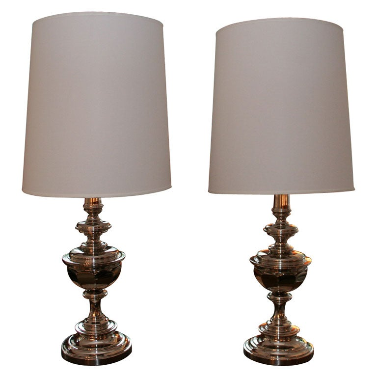 Pair Of 1960 S Stiffel Lamps In Mirror Polished Nickel At