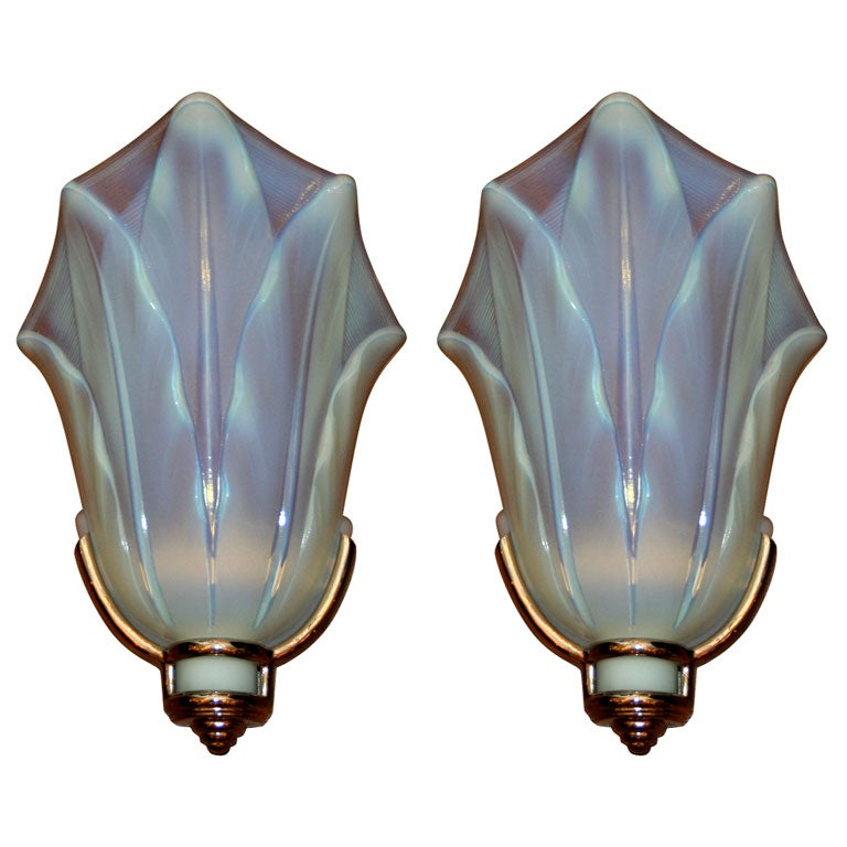 Wall Sconces Art Glass : Pair of Art Deco Opalescent Glass Wall Sconces by Ezan at 1stdibs
